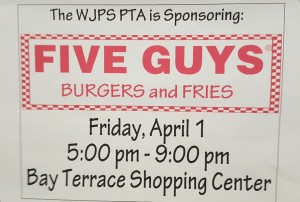 On Friday April 1st from 5-9pm a portion of the profit made in Five Guys (Bay Terrace) will be donated to the school. Come join and help the fundraiser while enjoying some burgers and fries.