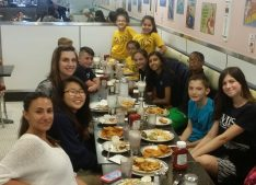Middle school ambassadors enjoy lunch at 57's All American Grill as they celebrate their efforts for the school. Photo attribution to Ms. Muenkwitz.