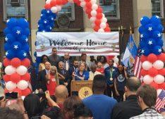 Borough President Melinda Katz welcomes the Olympians back home. Photo attribution to Nicole Yu.