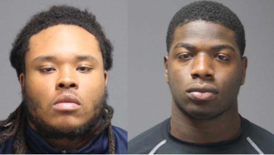 Two freshman football players from UCONN were arrested for having a weapon in a vehicle and underage possession of marijuana. Photo attribution to Hartford Courant in courtesy of UConn Police.