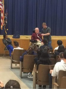 Detective Steven McDonald visited the school for his testimonial. Photo attribution to Nikita Mosier.