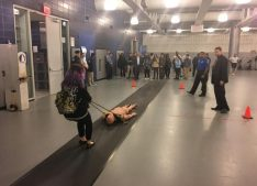 High school ambassadors visited the New York City Police Academy to experience the background and profession of what it takes to become a NYPD police officer. Photo attribution to Paul Vallone's assistant.